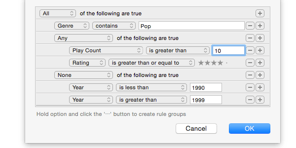 Screenshot of smart playlist rules editing.